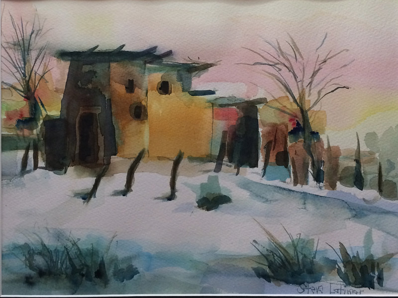 Watercolor Pueblo January Storm by Steve Latimer