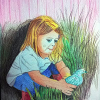 Drawing Alice 4 years old-colored pencil by Frans Geerlings