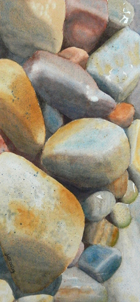 Watercolor Beach Rocks, Vancouver by Jane Crosby