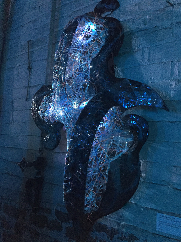 Freshwater Mermaid (evening view with LED lights) by Steven Simmons