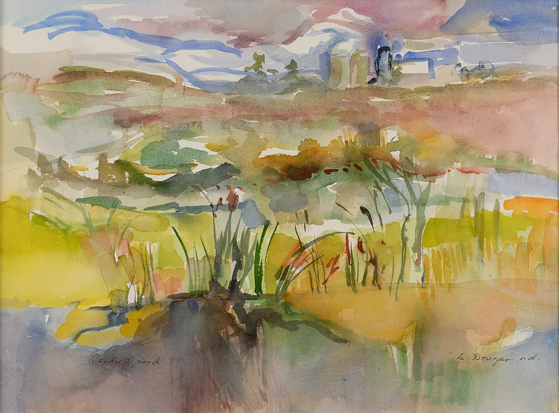 Watercolor Wendy's pond by James Dougan