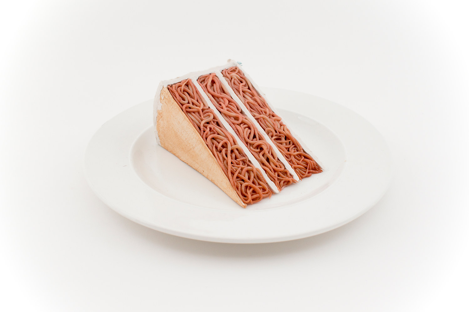 ceramic cake slice with white and blue icing on a white plate by Matthew  Dercole