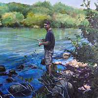 Oil painting Fishing in the Shade by Betty Ann  Medeiros