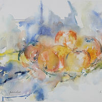 Watercolor peaches by James Dougan
