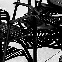 """Bistro Chairs Under Midday Sun"" by Hunter Madsen"