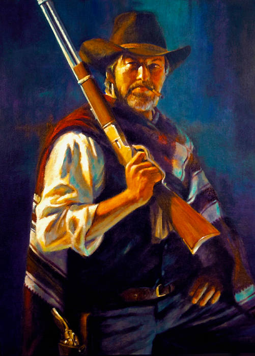 Oil painting Bounty Hunter by Kim Fujiwara