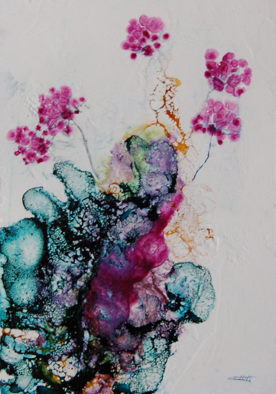 Mixed-media artwork Time of Magenta I by Liba Labik