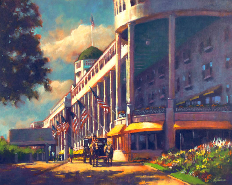Oil painting The Grand Hotel: 125th Anniversary by Kim Fujiwara