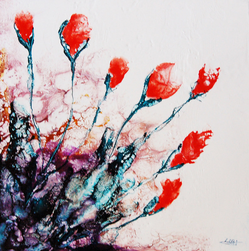 Mixed-media artwork Time of Red II by Liba Labik