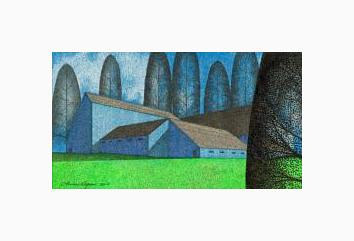 Print Blue Barns ( WM ) by Lawrie  Dignan