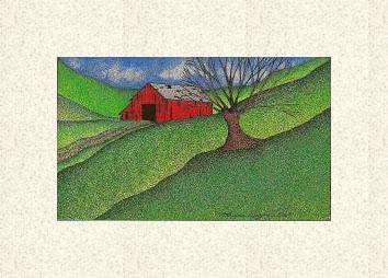 Print Red Barn ( WM ) by Lawrie  Dignan