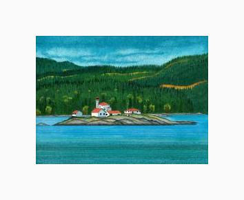 Print Entrance Island Lighthouse ( WM ) by Lawrie  Dignan