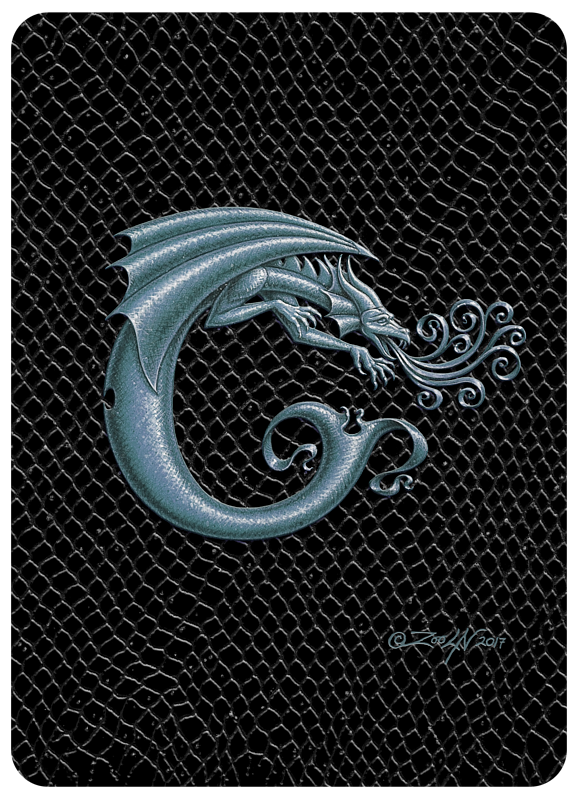"Print Dragon C, Silver 5x7"" print by Sue Ellen Brown"