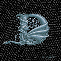 "Print Dragon D, Silver 5x7"" print by Sue Ellen Brown"