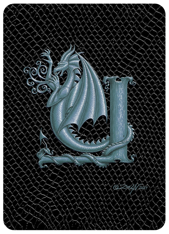 "Print Dragon Y, Silver 5x7"" print by Sue Ellen Brown"
