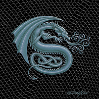 "Print Dragon S, Silver 5x7"" print by Sue Ellen Brown"