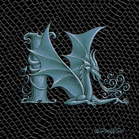 "Print Dragon N, Silver 5x7"" print by Sue Ellen Brown"