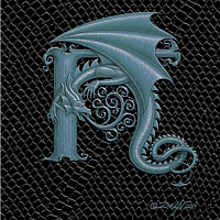 "Print Dragon H, Silver 5x7"" print by Sue Ellen Brown"
