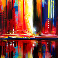 Acrylic painting City Vibes by Mary Maguire