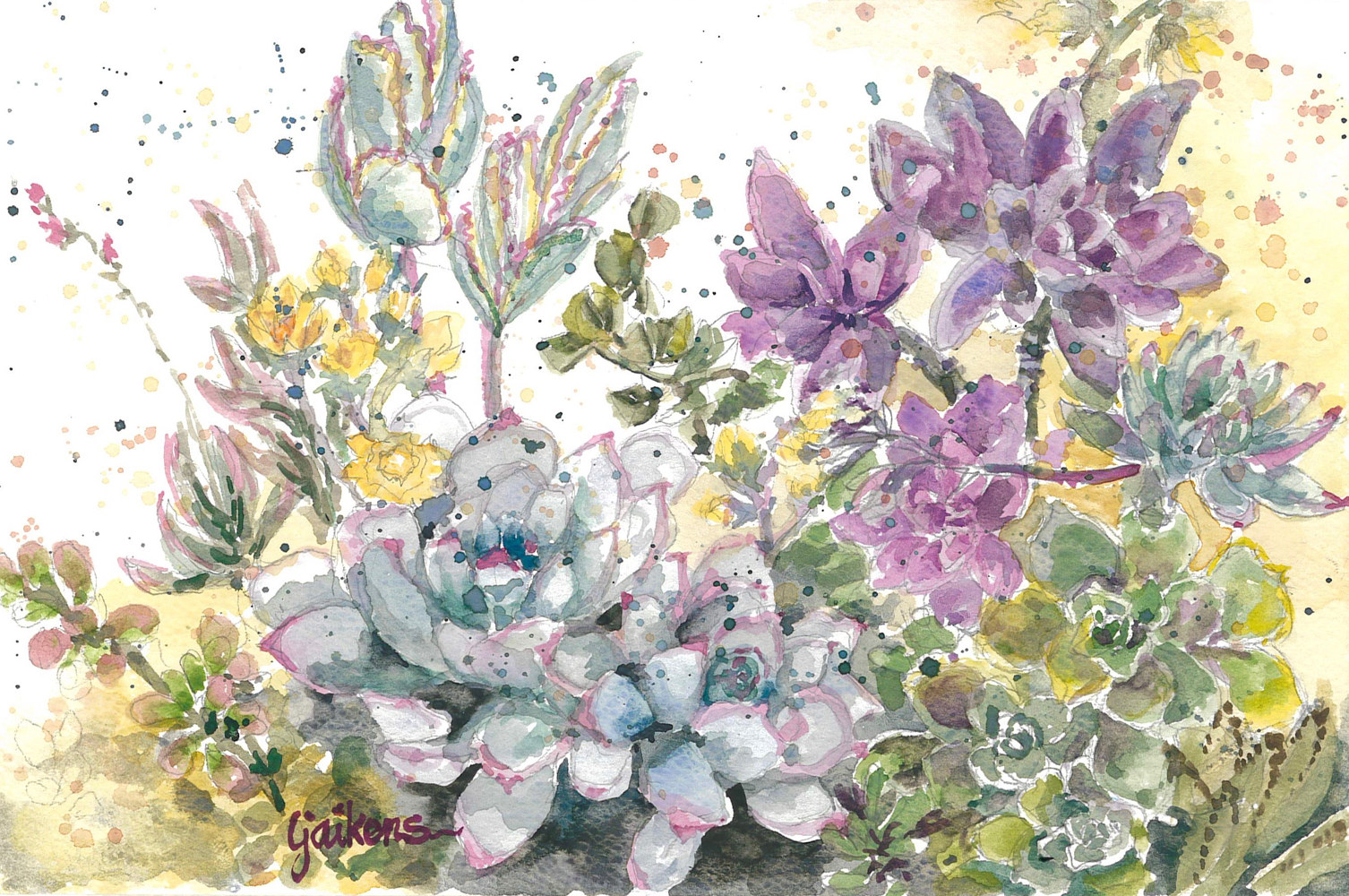 "Watercolor ""Succulent Bouquet"" by Linnie (Victoria) Aikens Lindsay"