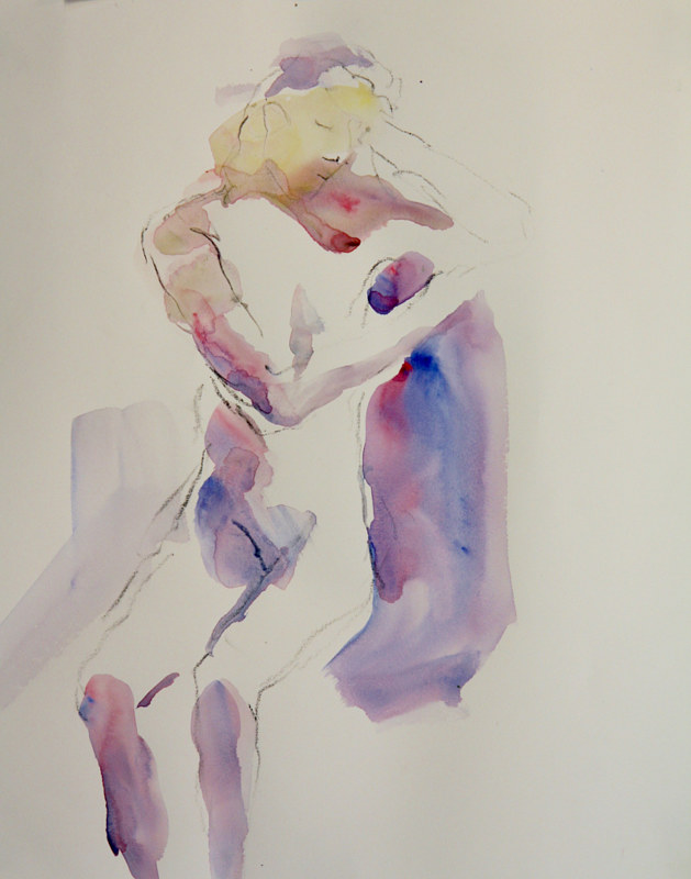 Watercolor pensive nude by Madeline Shea