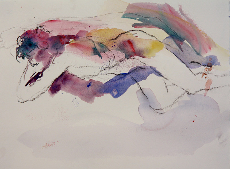Watercolor reclining nude 2 by Madeline Shea