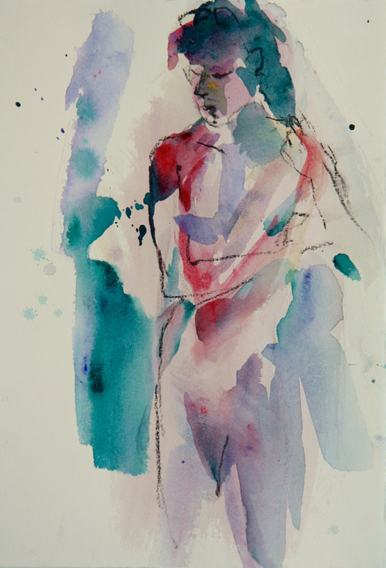 Watercolor nude contemplating by Madeline Shea