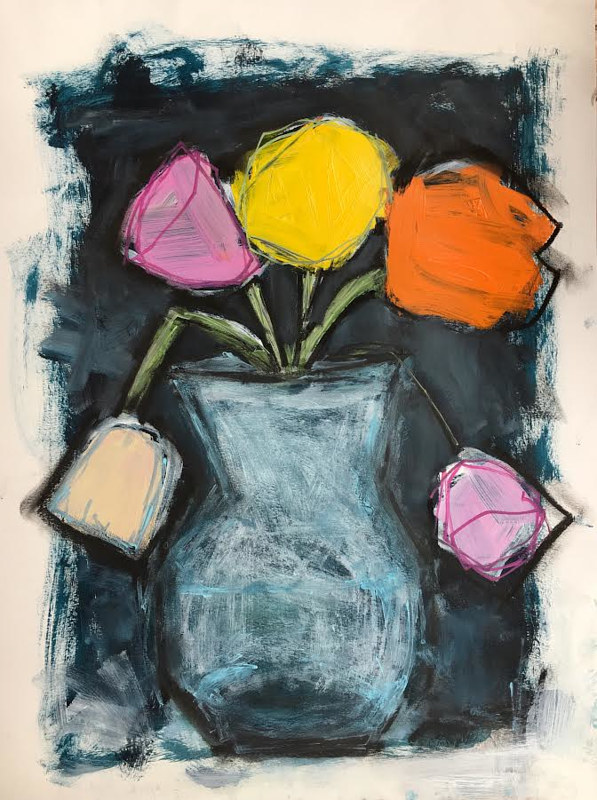Acrylic painting White Vase: Study  by Sarah Trundle