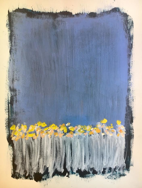Acrylic painting Yellow Flowers by Sarah Trundle