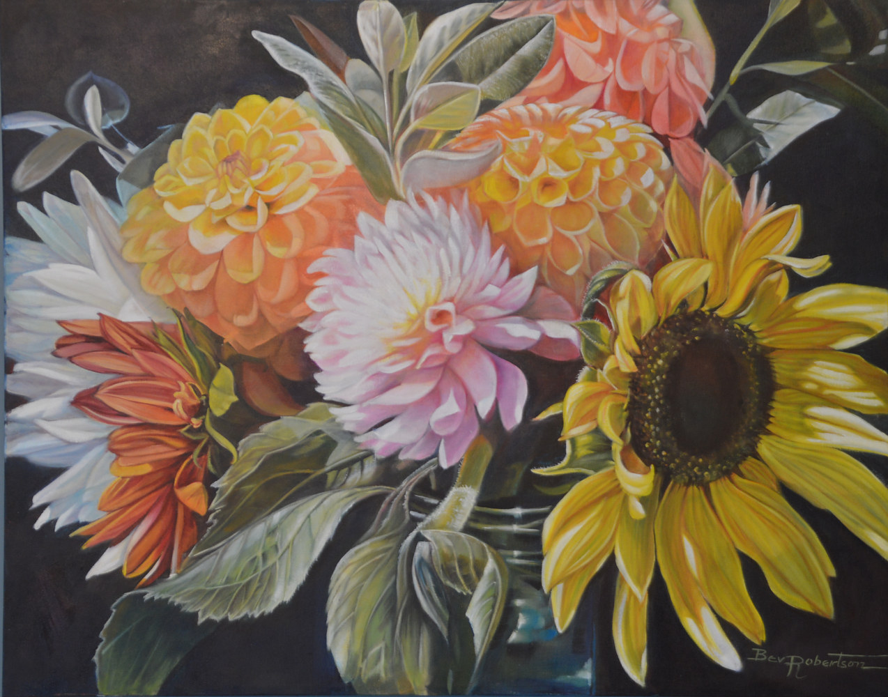 Oil painting Flower Stand by Bev Robertson