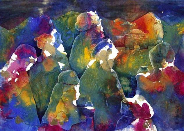 Watercolor Bearing Gifts by Vicki Allesia