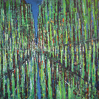 Acrylic painting City in Green  by David Tycho