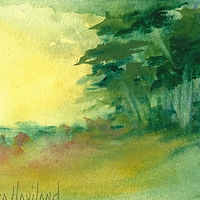 Painting Small Watercolor Landscape by Barbara Haviland