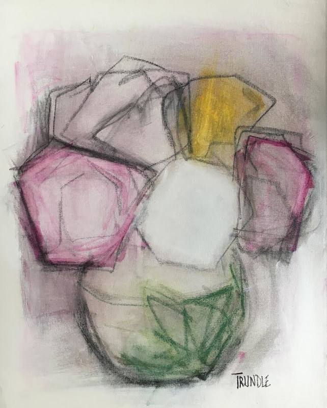Acrylic painting Flower Study with Charcoal by Sarah Trundle