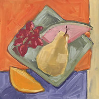 Oil painting Color and Composition Study with Pear by Sarah Trundle