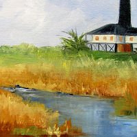 Oil painting Port Bolivar Lighthouse #1 by Barbara Haviland