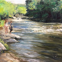 Oil painting 3 Girls by the Housatonic by Betty Ann  Medeiros