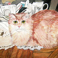 Al the Long Haired Cat Pastel2 by Kathleen Contri