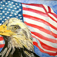 American flag & eagle1 by Kathleen Contri