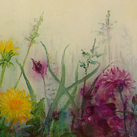 Oil painting Beauty and Time of Weeds II by Libuse Labik