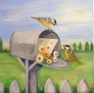Acrylic painting Spring Mail in the interest of Sam Timm by June Long-schuman