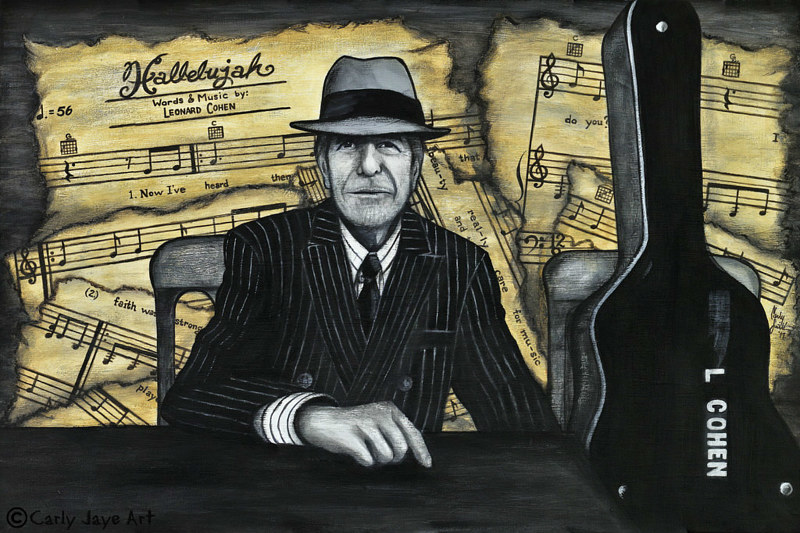 Acrylic painting LEONARD COHEN by Carly Jaye Smith
