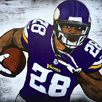 Acrylic painting ADRIAN PETERSON by Carly Jaye Smith