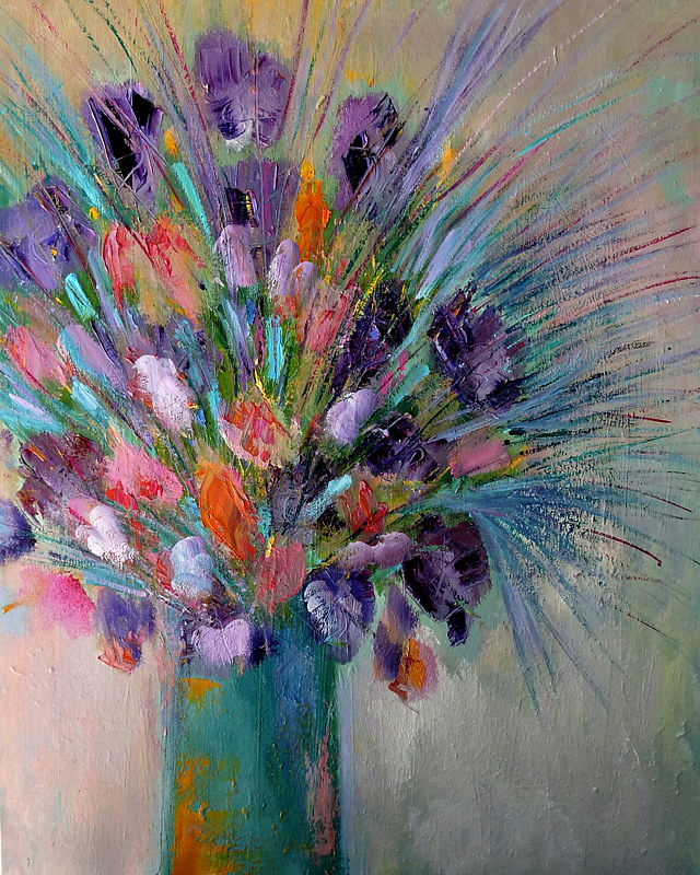Oil painting Purple Bouquet. by Svetlana Barker