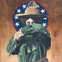 Acrylic painting Dead Eye (Annie Oakley) by Stuart  Sampson