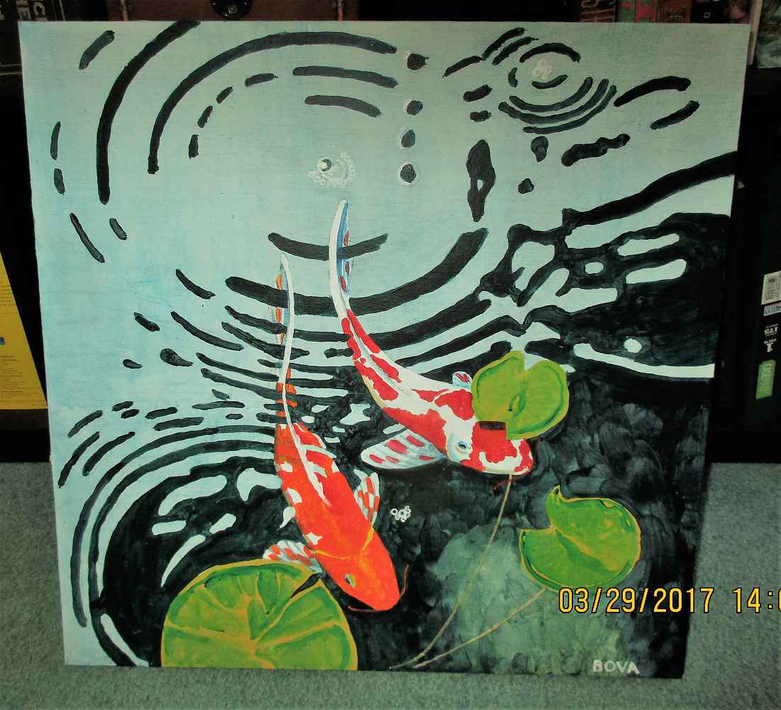 IMG_0953 (2)Acrylic painting on canvas of koi and ripples in water. by Vincent Bova