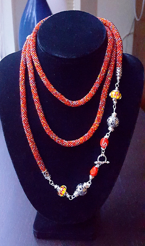 Bead crochet rope long necklace (1.45m)  by Vicki Allesia
