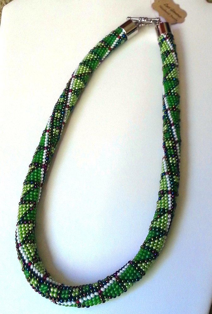 Beaded crochet necklace green triangles  by Vicki Allesia