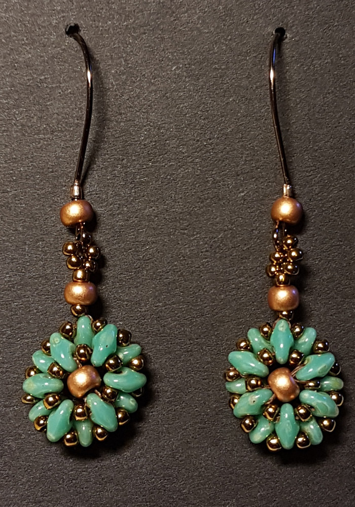 Beaded earrings (superduo) turquoise  by Vicki Allesia