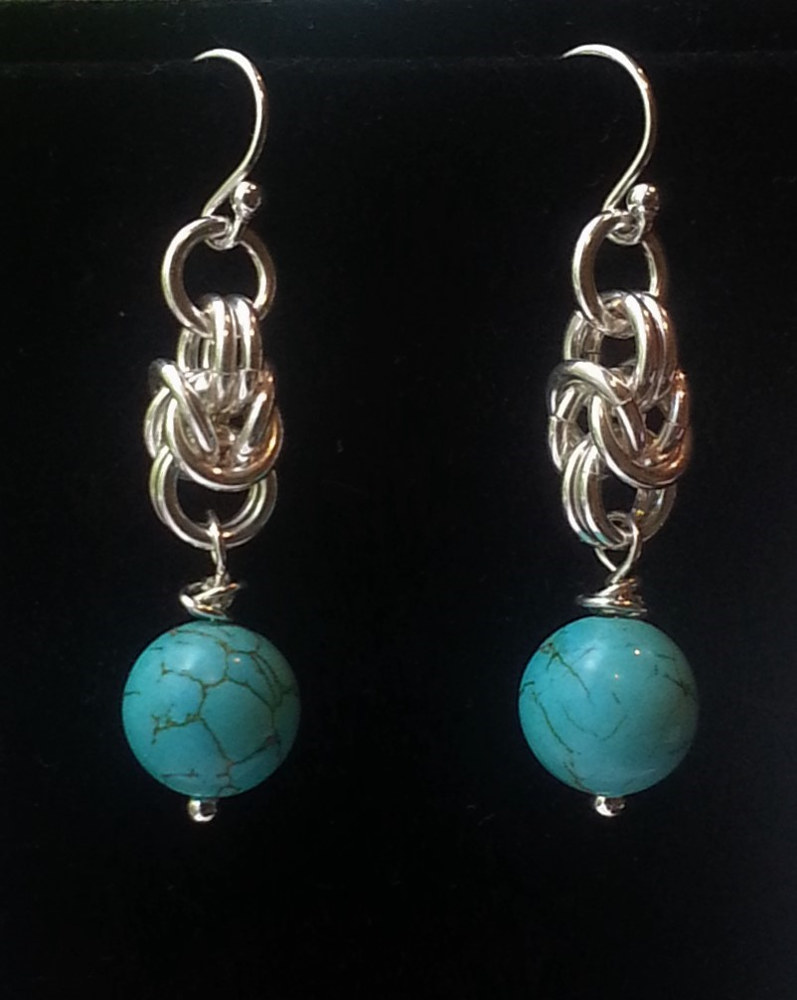 Chainmaille and turquoise beads earrings  by Vicki Allesia